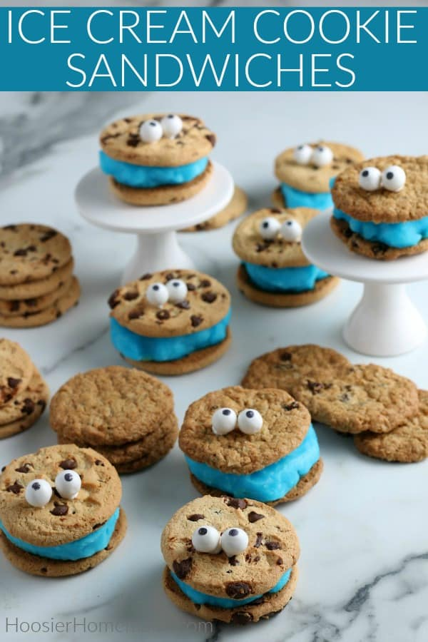 Ice Cream Cookie Sandwich with blue ice cream and eyes for Cookie Monster