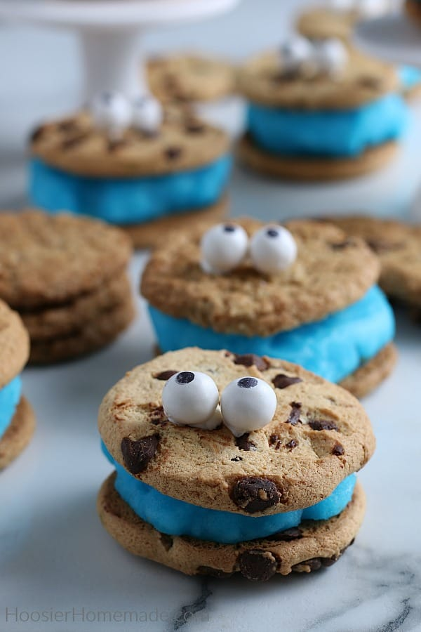 Cookie Monster Ice Cream Cookie Sandwich