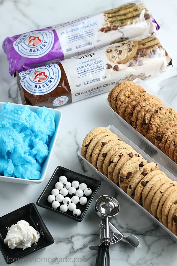 Ingredients to make Ice Cream Cookie Sandwich