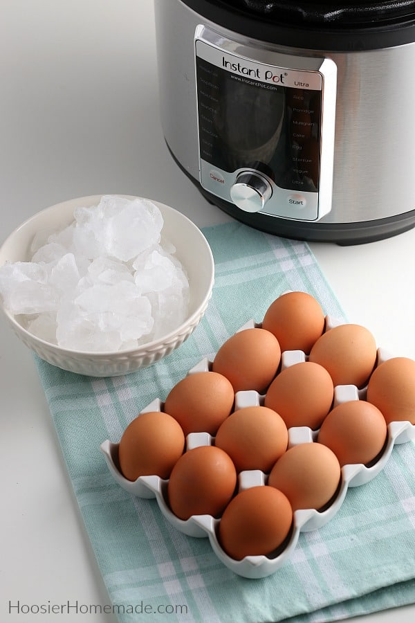 Ingredients to make Instant Pot Hard Boiled Eggs