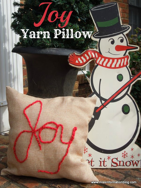 DIY Joy Yarn Pillow: 100 Days of Homemade Holiday Inspiration