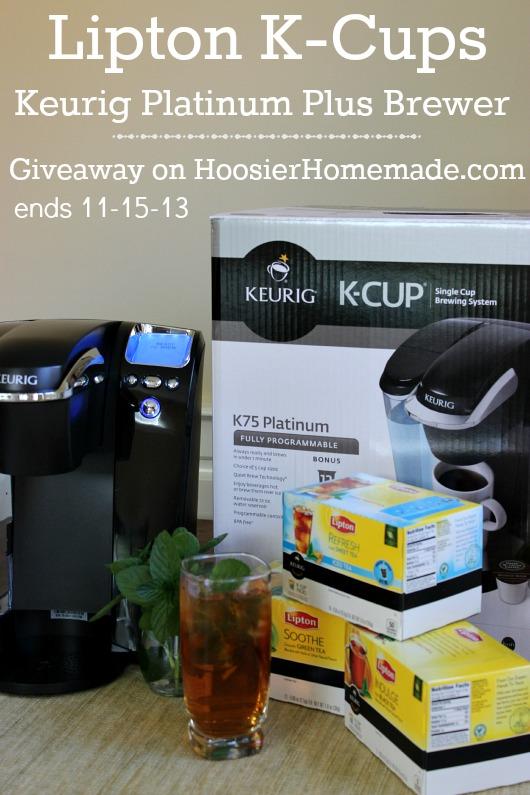 Lipton Tea K-Cups and Keurig Platinum Brewing System Giveaway on HoosierHomemade.com