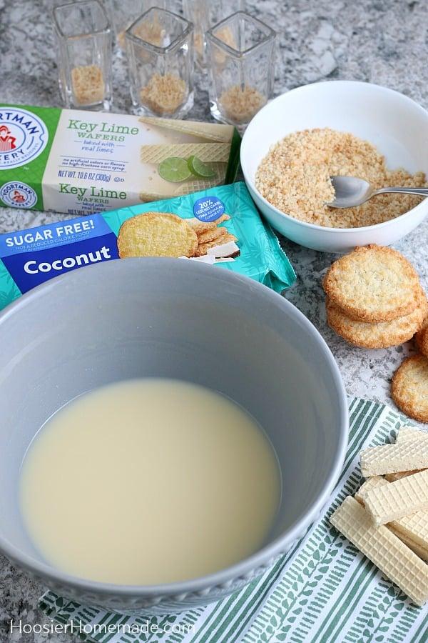 Ingredients to make pudding shots