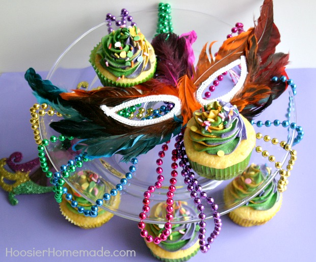 King Cake Cupcakes for Mardi Gras | Recipe on HoosierHomemade.com