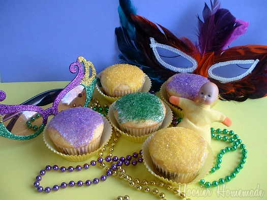 King Cake Cupcakes and Mardi Gras Food
