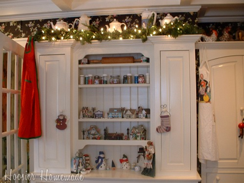 Holiday home tour hoosier homemade for Christmas decorating above kitchen cabinets