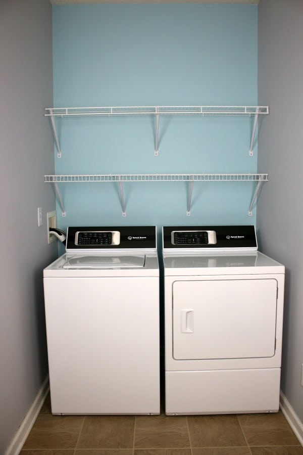 Speed Queen washer and dryer in small laundry room