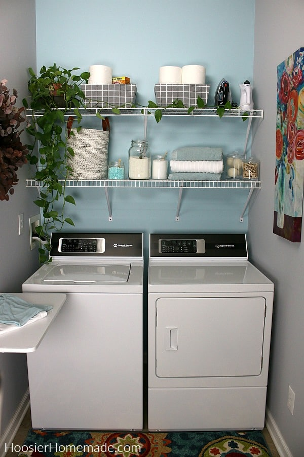 Small Laundry Room with shelves