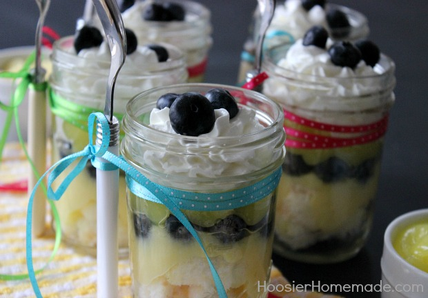Lemon Blueberry Angel Food Cake in a Jar :: Recipe on HoosierHomemade.com