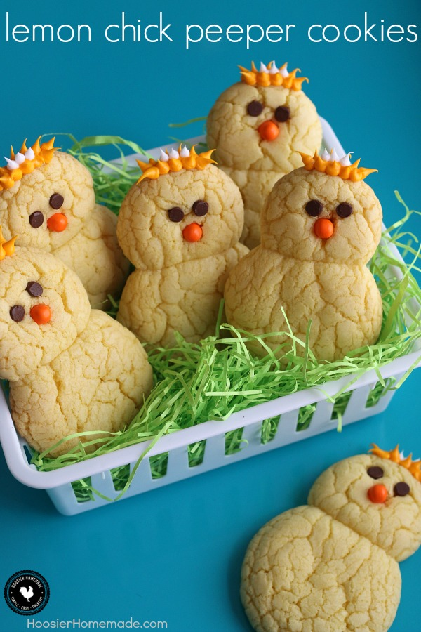 Lemon Chick Peeper Cookies - made with just 3 ingredients plus the face and feathers, these cookies are as fun to make as they are to eat! Perfect for Easter Dessert! Pin to your Recipe Board!