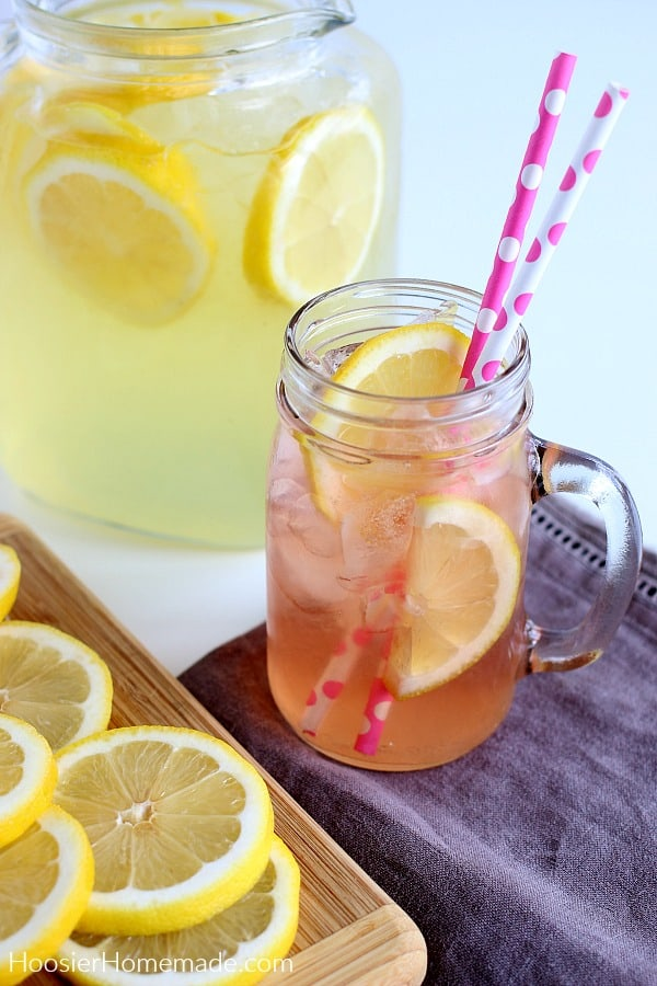 Pink Lemonade in a glass mason jar