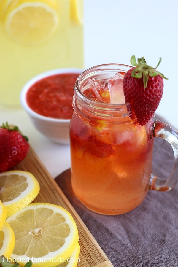 Strawberry Lemonade in glass mason jar
