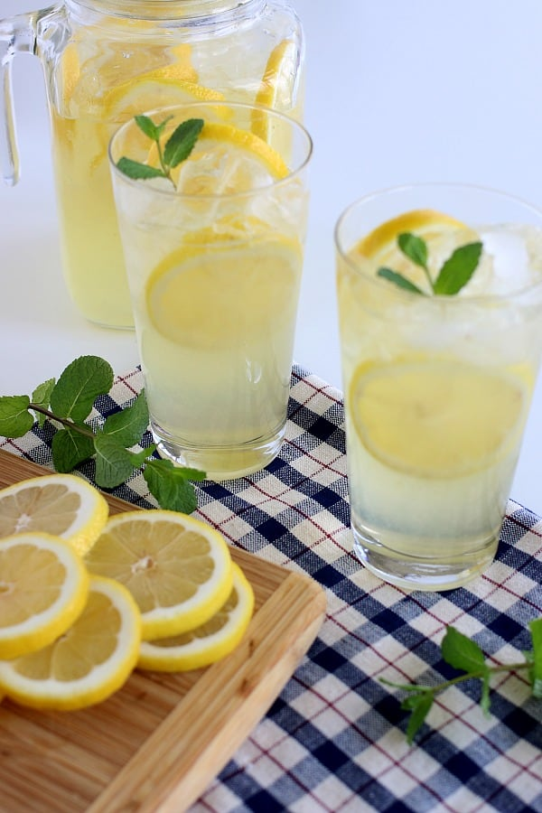 Lemonade Recipe with lemons and mint