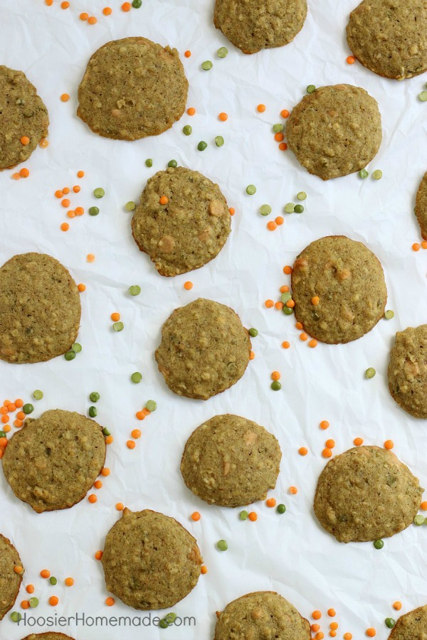 LENTIL COOKIES -- You will never believe that these cookies have healthy lentils in them! These healthy cookies have oats, peanut butter chips, whole wheat flour and are filled with GOODNESS!