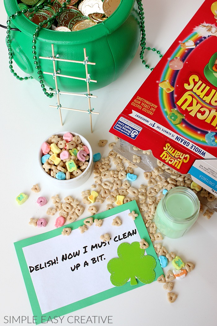 Lucky the Leprechaun has made a mess with green milk and Lucky Charms