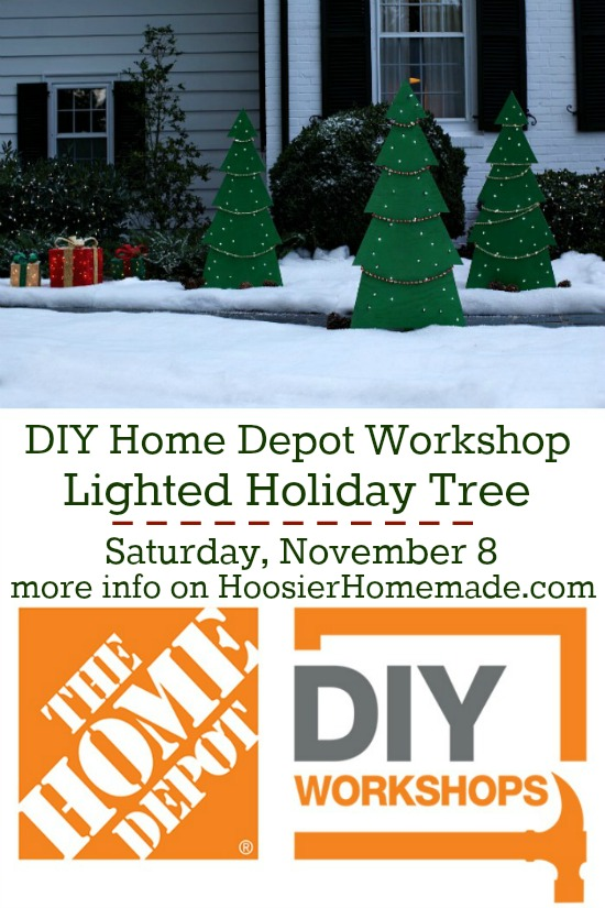 Learn how to make this cool Lighted Holiday Yard Tree! Join us at The Home Depot!
