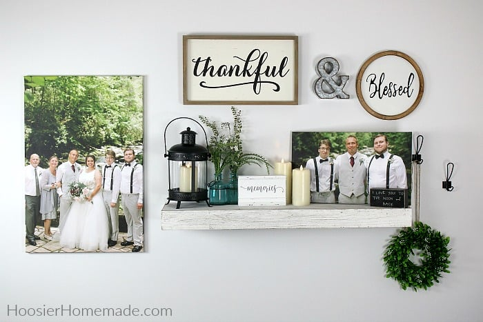 Canvas prints on wall with decorations