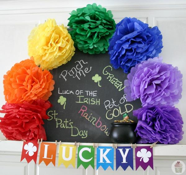 St. Patrick's Day Rainbow Mantel :: HoosierHomemade.com