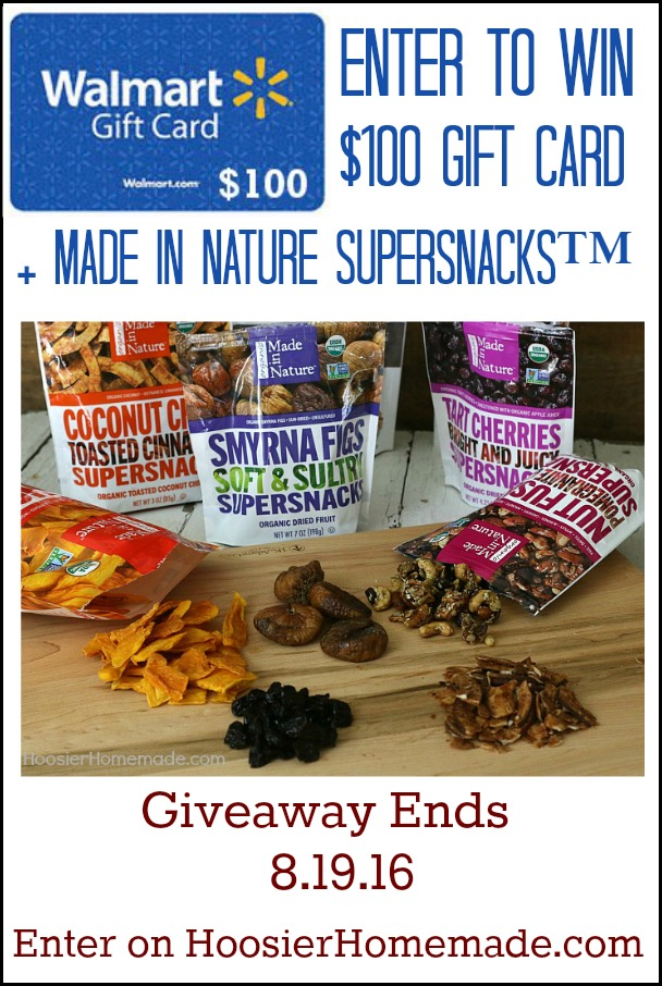 Enter to WIN Made in Nature Supersnacks + $100 Walmart Gift Card