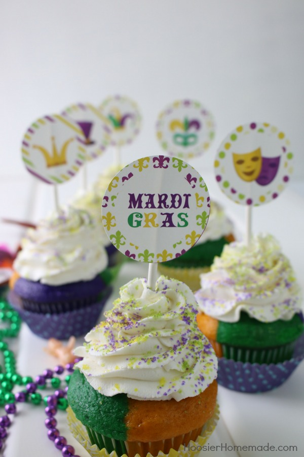 Mardi Gras Cupcakes With Free Printables Hoosier Homemade