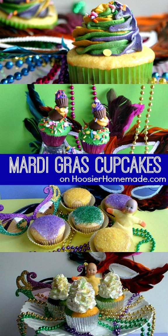Celebrate Mardi Gras and Fat Tuesday with these Mardi Gras Cupcakes! Pin to your Recipe Board!