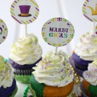 Mardi Gras Cupcakes with Free Printables