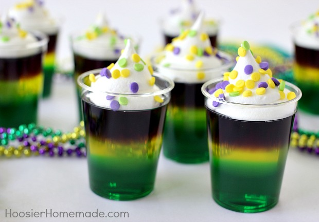 Mardi Gras Jello Shots | Recipe on HoosierHomemade.com