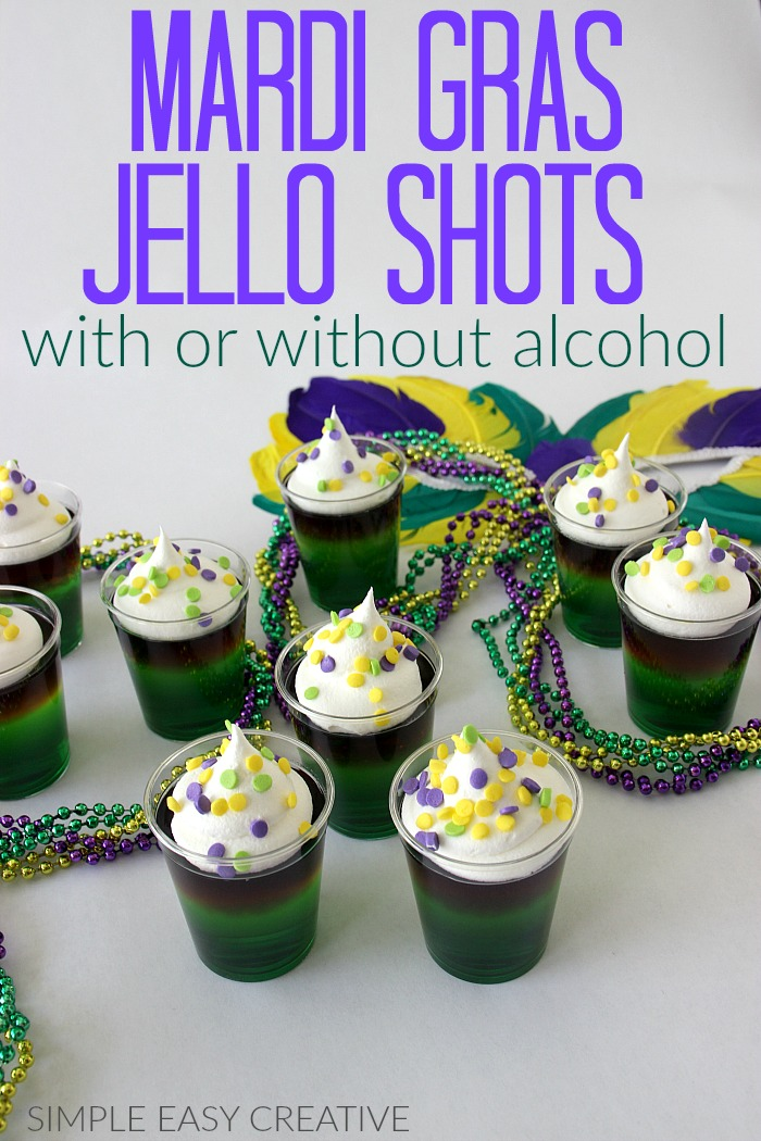 Mardi Gras Jello Shots made with or without alcohol