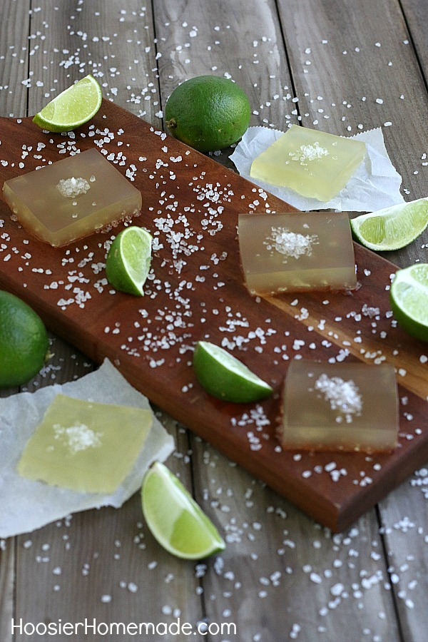 MARGARITA JELLO SHOTS -- You are ONLY 3 ingredients away from a fun adult jello shot! Whip up a batch of these for your next party!