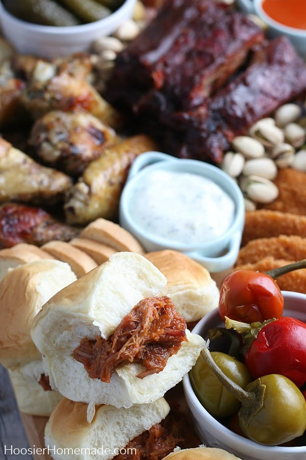 Niman Ranch Pulled Pork sandwiches on Charcuterie Board