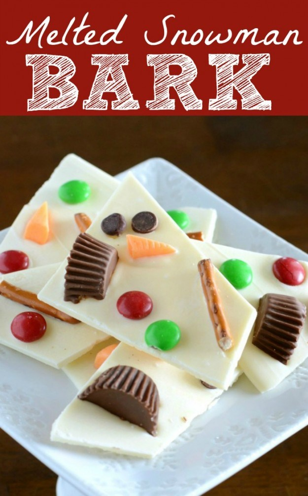 Melted Snowman Bark- an easy and fun winter treat for the whole family!