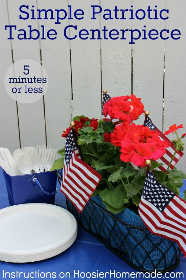 Create this Simple Patriotic Table Centerpiece in under 5 minutes! Perfect for Memorial Day and Fourth of July!