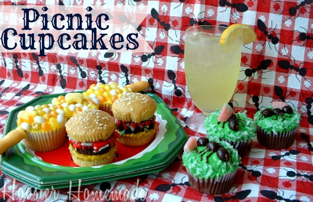 Picnic Cupcakes for Memorial Day  :: on HoosierHomemade.com