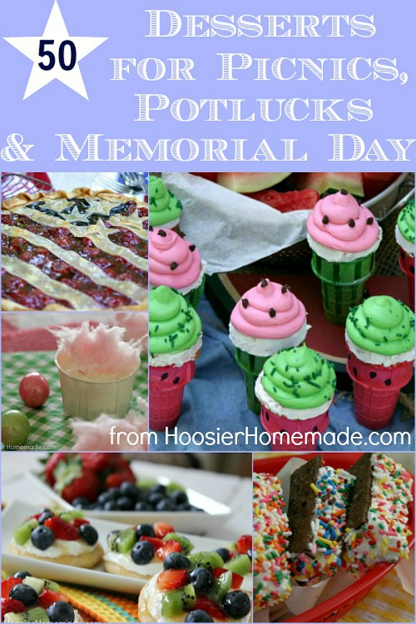 Oh how we LOVE Summer! Especially dessert during the Summer! Here are 50 Desserts that are perfect for Picnics, Potlucks, Memorial Day or even 4th of July!