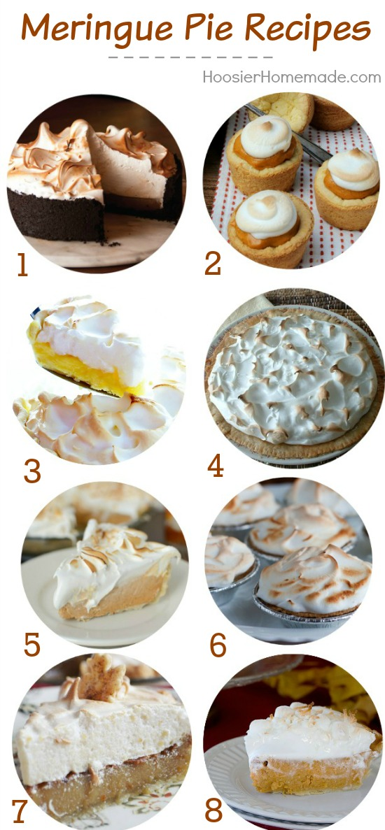 Nothing quite like a lusicious pie with meringue piled high on top! These Meringue Pie Recipes are mouthwatering! Pin to your Baking Board!