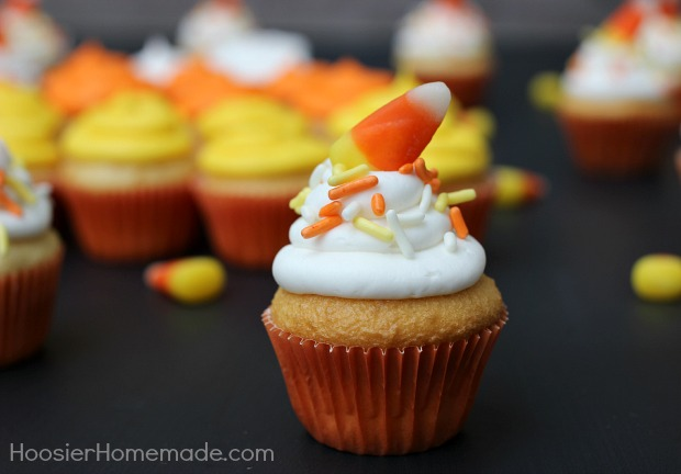 Mini Candy Corn Cupcakes :: Recipe on HoosierHomemade.com