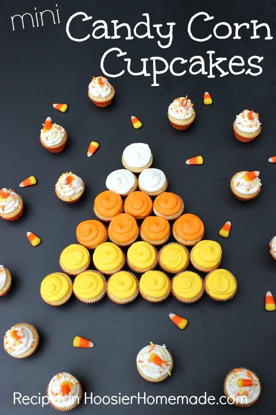 Mini Candy Corn Cupcakes :: Recipe on HoosierHomemade.com