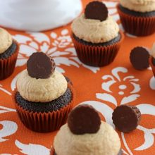 Mini Chocolate Peanut Butter Cupcakes.FEATURE