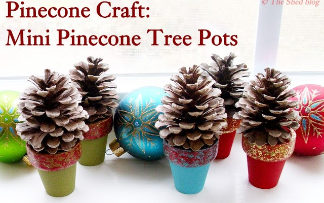 Mini Pinecone Tree Pots: 100 Days of Homemade Holiday Inspiration on HoosierHomemade.com