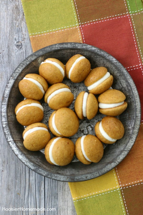 MINI PUMPKIN WHOOPIE PIES - Soft pumpkin cookies sandwiched with buttercream frosting