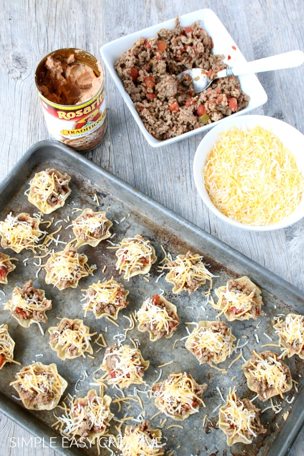 Taco Cups with meat and cheese
