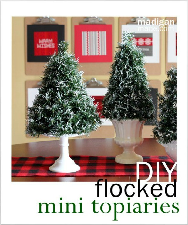 DIY Flocked Mini Topiaries: 100 Days of Homemade Holiday Inspiration