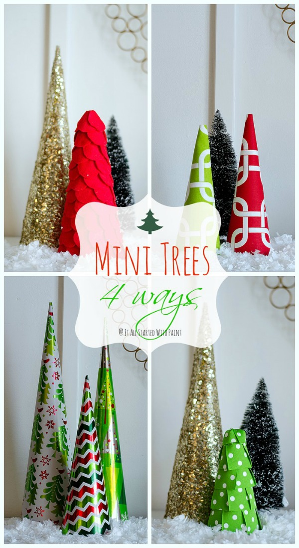 Create your own style with the easy to make Mini Trees! They are perfect for table tops, Christmas Mantel, and more! Visit our 100 Days of Homemade Holiday Inspiration for more recipes, decorating ideas, crafts, homemade gift ideas and much more!