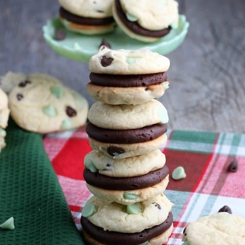 Cake Mix Cookies with frosting for whoopie pies