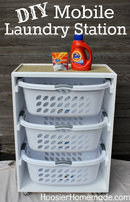 Tackle your laundry with this DIY Mobile Laundry Station! Also great for organizing toys, clothes and more! Pin to your Organizing Board!