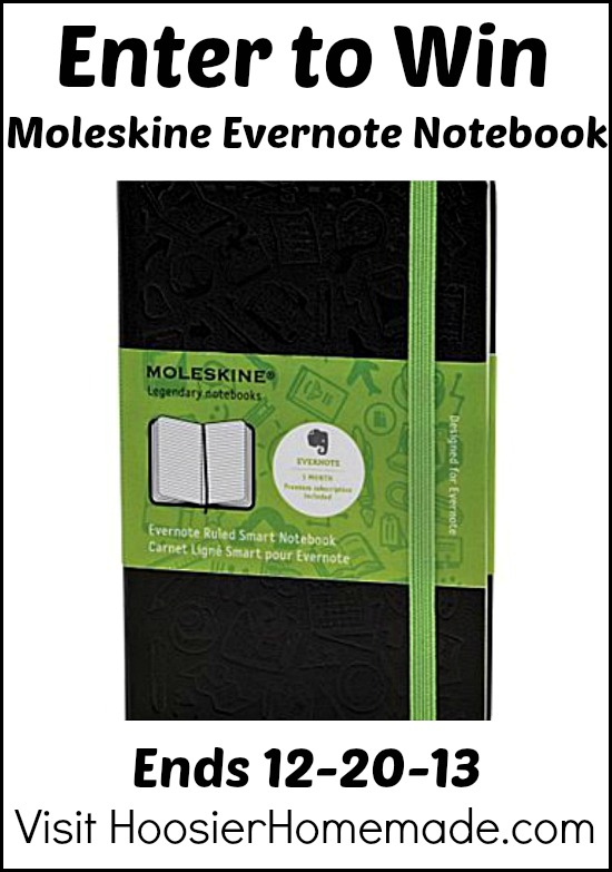 Moleskine Evernote Notebook Giveaway on HoosierHomemade.com