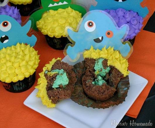 Slime Filled Monster Cupcakes
