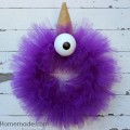 Halloween Monster Wreath : Purple People Eater :: Tutorial on HoosierHomemade.com
