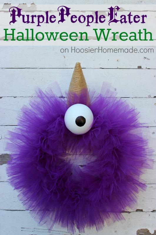 Halloween Wreath : Purple People Eater :: Tutorial on HoosierHomemade.com