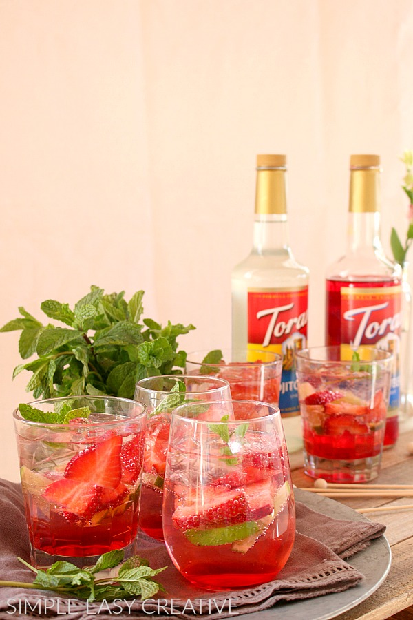 Strawberry Fizzy Mocktails with Torani Strawberry Syrup